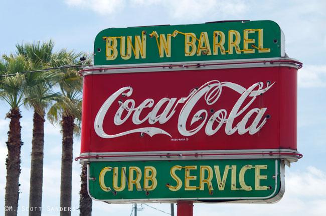 Bun-N-Barrel Coca-Cola sign, San Antonio, TX